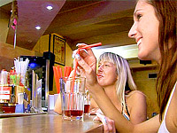 Two teenage girls having fun with the horny male bartender