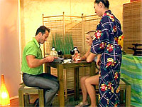 White girl and guy fucking a Japanese cutie in a restaurant