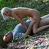 Old chap nails a much younger chick in the woods outdoors