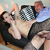 Teenage stockings sweetie sucking a very old stiff pecker