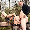 Horny old beard man publicly fucks a hot chick outdoors