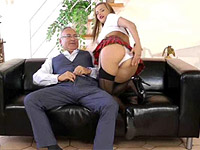 Old fellow ramming his boner up her tight schoolgirl cooch