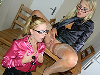 Attractive clothed blondes love sharing their moist pee