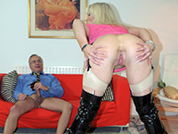 Blonde milf in latex boots gives titjobs and fucks old Jim