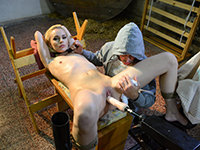 Slave Roxy Lee gets bound tape-gagged and machine fucked