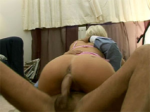 Filthy blonde Uk slut riding a senior his big stiffy cock from Jim Slip