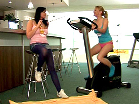 Two busty teenage chicks toying pussy after the fitness from Young Busty