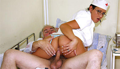 Old senior getting a horny handjob from the nurse from Old Farts Young Tarts
