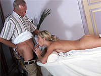Teen goes from getting her back massaged to sucking the old mans cock