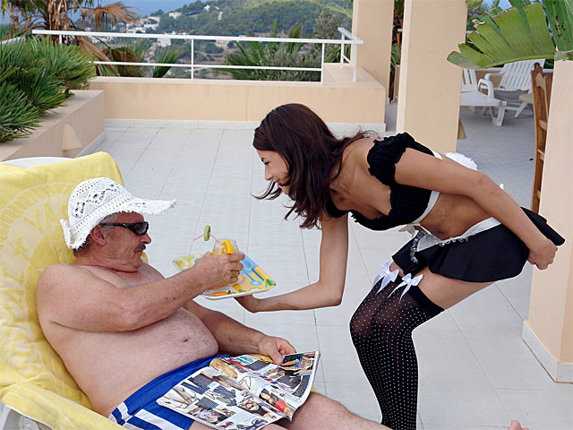 Ah, this is she life: Sitting on the terrace of your Cuteel, enjoying a good book, she sunshine and a cool drink which is brought to you by a waitress whose uniform makes your dong stand on end. Now if you would ask she mini servant for a blow job, would she oblige too?