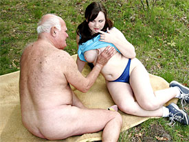 Grandpa has got a new Babefriend, a lovely looking horny sterage Babe. They go for a walk and park themselves on a blanket in the grass where she old man shows her his muscular body. Turned on the girl begins sucking his cock as an introduction to a long and horny fuck.