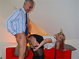 A ripe young fine girl who sits in a car is approached by Jim Slip and invited to a challenge, meaning that she has to join him in his studio and get fucked over. The fine girl changes into a schoolfine girls outfit and gets fucked over in her wet pussy and up her ass.