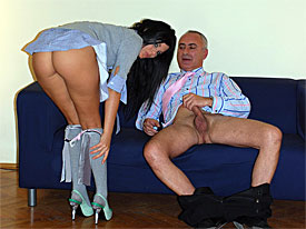 The cameraman meets up with a pimp, looking for a Sexytie. At the gorgeous room a sexy called Madison appears. the slut is wearing an ultra short miniskirt that the slut lifts up in order to show her snatch and masturbate.