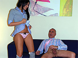 Jim is talking to a pimp who promises to send him a Babe called Madison. when the hot babe arrives the hot babe stretches out on the comfy couch and masturbates. The Jim joins her and fucks the Babe in various positions.
