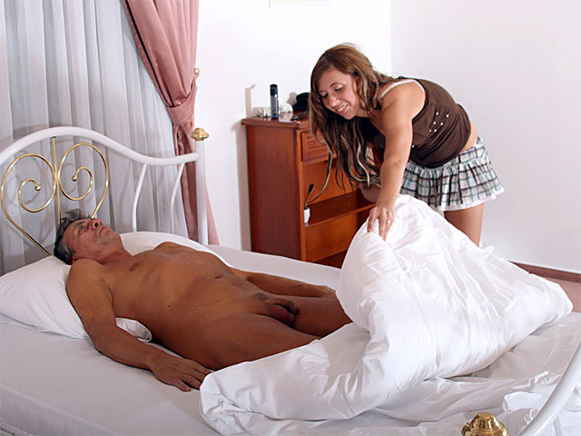 An older guy is in his beautifulel room where he tries to seduce the chamber maid. After he has had too much to drink she takes him to the shower and washes him. Later on they go to the bedroom for a blow job and a fuck.