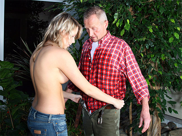 An elderly man is busy gardening but is bothered by his back. By coincidence a Sweet blonde sexy rings the bell, offering help. the girl is definitely very good with the watering can, soaking the fellows clothes all over. the girl lets him undress and at a time when the is naked the slut gives him a thorough blow job before both of them fuck in the greenhouse.