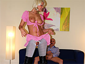 A Sweet blonde sweetheart is approached on the street for a horny sex tube session. at a time when she arrives at the studio she has to change into high heels, stockings and a miniskirt. The guy there lays her down on the settee so the can lick herand she in turn can blow his dick. After that she is banged in various positions.