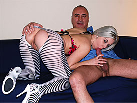 Jim Slip meets up with a blonde sexy hottie on the market and invites her over to his studio. There the hottie puts on a sexy outfit and gives Jim a blow job. the hot babe then climbs on his lap to ride his pole and after that they fuck in various positions.