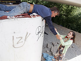 A ripe young fine girl is spraying graffiti on a concrete wall when a tramp frightens her. she gives the guy a blow job and a later on the is banging her hairy pussy. Then the girl kneels down to jerk him off 'til her comes over her small Juggs.
