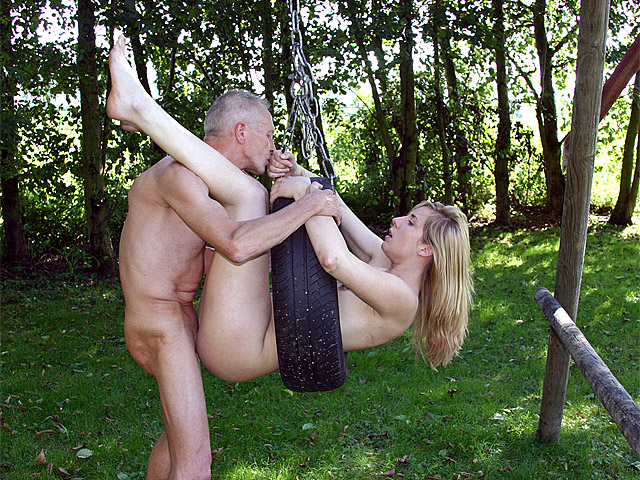 Even on a scorcher like now Paul is still busy keeping his smooth body in shape. Nothing can distract him from flexing his muscles... Well, nothing except from a naked, gorgeous blonde beauty sweetie who is kneeling in the grass showing her round perfect ass off...