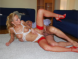 A guy is asking a blonde sexy sweetie for directions and after that tells her the is looking for models. After some hesitating she goes with him to his studio where she chooses some sexy clothes. Then she blows and fucks the guy on a couch.