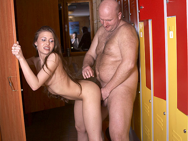 Rebecca has been working a the reception desk of the local sauna for a couple of weeks now and it is getting pretty frustrating: the girl hasn`t seen a single naked guy yet! So now the hot babe is going to follow one of them into the dressing room...
