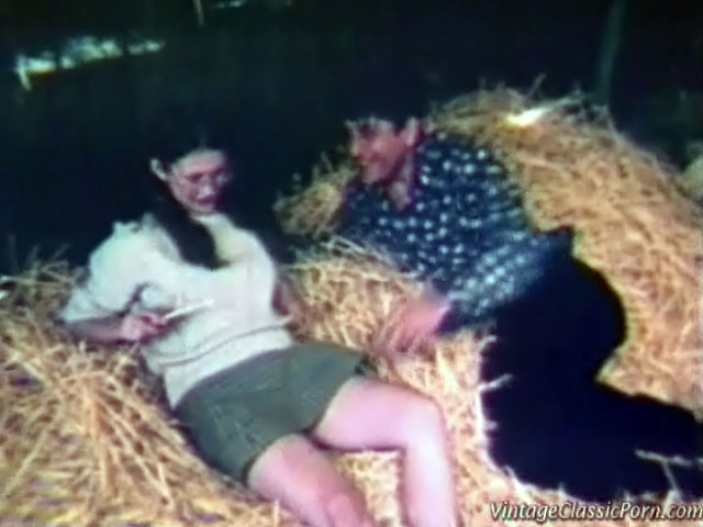 A couple is laying in the haystack in a barn. The guy is touching the girl up licking her tits. Then she gives him a blow job until the farmer and his wife come in. At first they are angry but they end up in a foursome.
