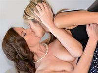 Sultry lesbians. Hot young girl pops out of big present and has lesbian sex