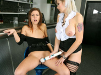 Ladies use toy. Two hot and slutty ladies using a large and powerful dildo
