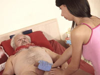 Young brunette. Young brunette babe fuck an old man to make him better