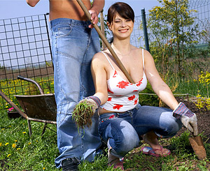 Kristina aka kristi love. Girl with enormous natural tits riding cock in the garden