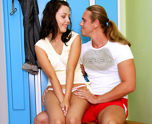 Peggy. Brunette teenager gets have sexual intercourse by her trainer in lockerroom