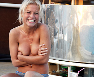Sunny. Appealing blonde first timer loves to swim around fully nude