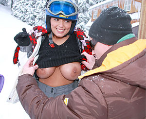 Ora. Teenage brunette with huge naturals gets have intercourse in the snow