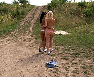 Laetitia. Two naughty teenage girlfriends going wild in the nature