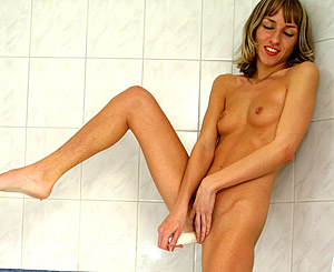 Patty. Sweetie playing with a showerhead on her very damp clit