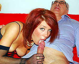Roxy foxx. Picked up red hairy street slut fucks a horny old senior