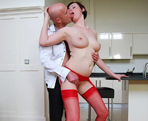 Lara latex. Hot redhead MILF blowjob penish and fuck an libidinous fan