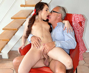 Stacy snake. Chick drilled by very old senior on a red chair hardcore