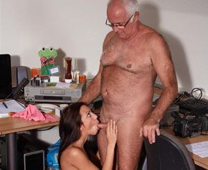 Lucky old man. A horny old man gets to fuck a young attractive horny girl