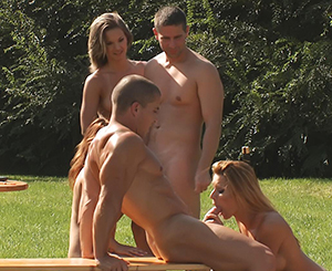 Group sex. Join this hot group sex party out in the open and enjoy!