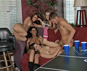 Four horny cuties getting make love well in group sex game.