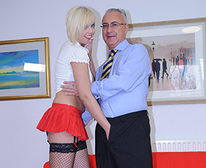 Blonde young honey give suck and fuck old jim\'s rough penis.